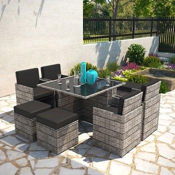BillyOh Modica 8 Seater Cube Outdoor Rattan Garden Dining Set Mixed Grey