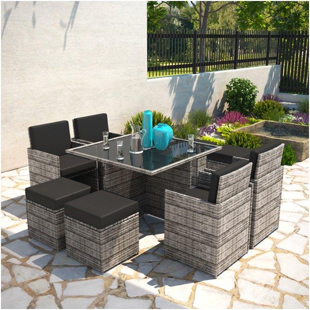 Rattan garden furniture is lightweight