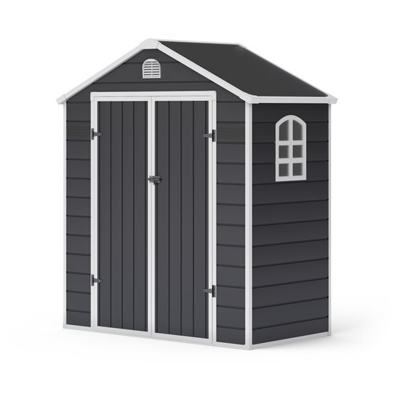 BillyOh Ashford Apex Plastic Garden Storage Shed Including Foundation Kit Grey