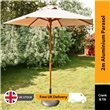 2m Sturdi Plus Aluminium Push Up Garden Parasol - Natural