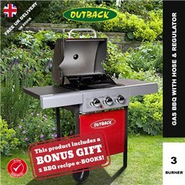 Outback Meteor Hooded Red Gas BBQ - 3 Burner with Hose & Regulator