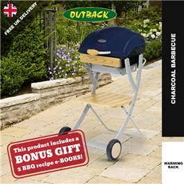 Outback Omega 100 Charcoal BBQ - Midnight Blue