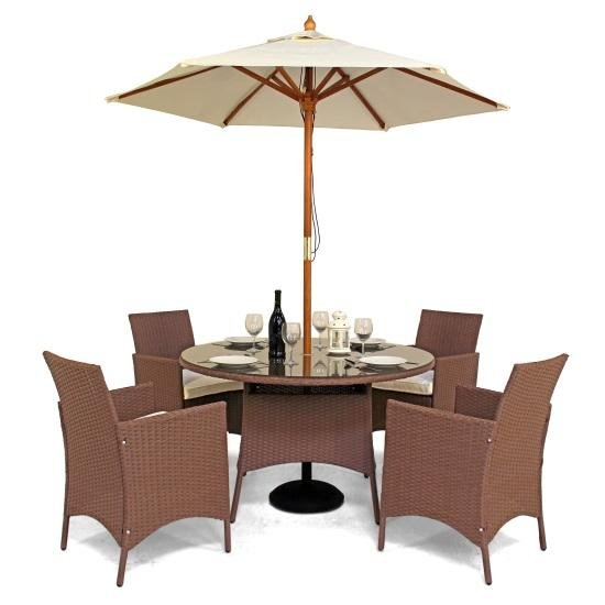Rattan Dining Set Has The Option Of Adding A Parasol