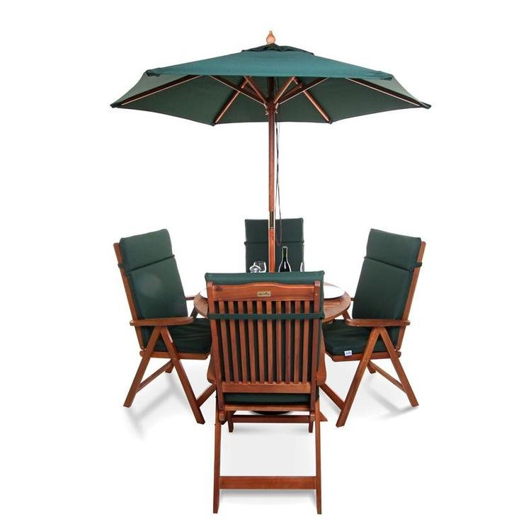 4 Reclining Chairs with Option Green Cushions and Parasol