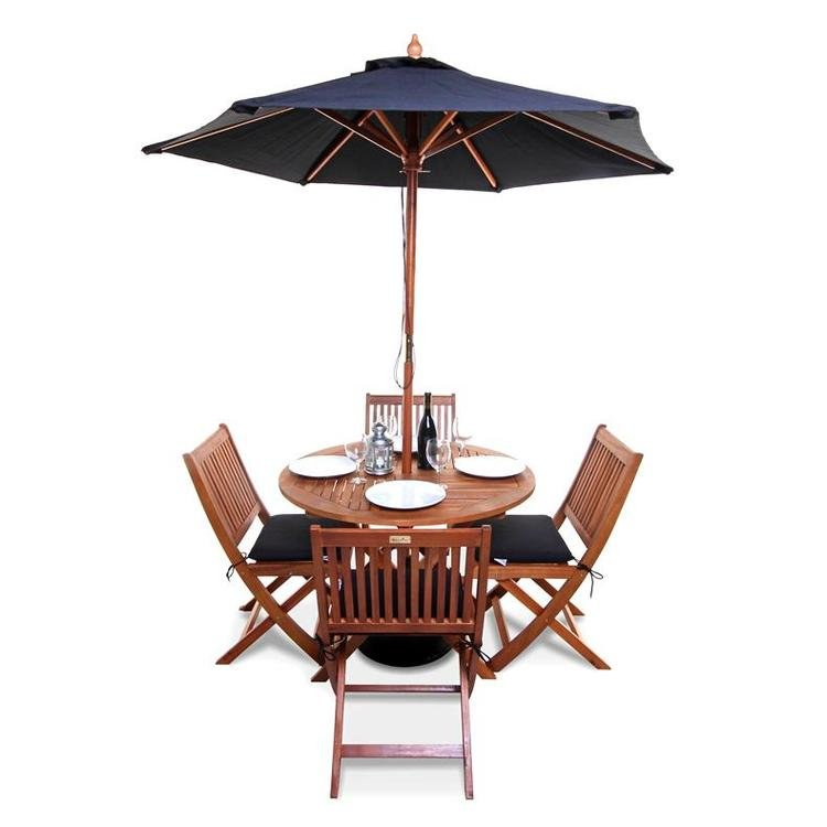 4 Folding Chairs with Option Black Cushions and Parasol