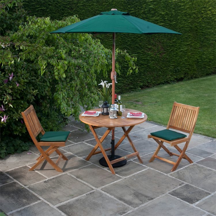 2 Folding Chairs with Option Green Cushions and Parasol