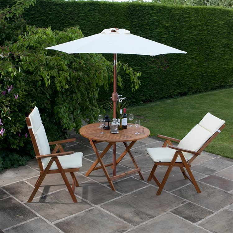 2 Reclining Chairs with Option Natural Cushions and Parasol