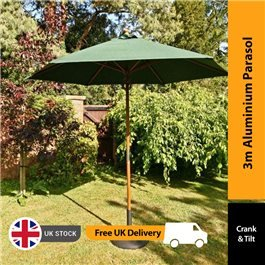 BillyOh Aluminium Crank and Tilt Wood Effect Parasol - Green