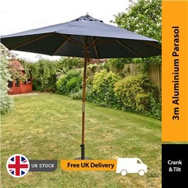 BillyOh Aluminium Crank and Tilt Wood Effect Parasol - Black