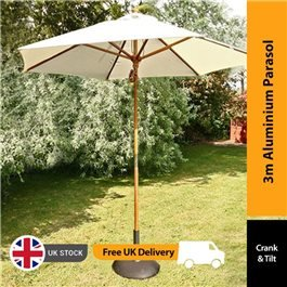 BillyOh Aluminium Crank and Tilt Wood Effect Parasol - Natural