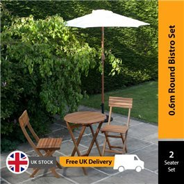 BillyOh Windsor 0.6m Round Bistro Set - 2 Seat set with Folding Chairs