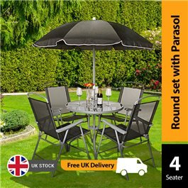 BillyOh Express 4 Seater Folding Chair Metal Furniture Set - Black