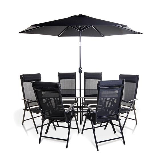 BillyOh Comfort 6 Seater Rectangular Metal Garden Furniture Set - Black