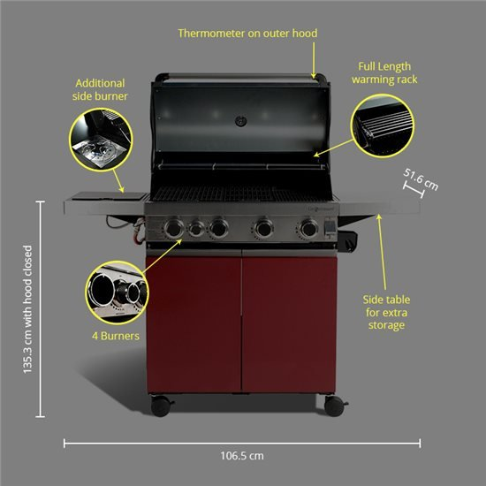 Prestige 4 Burner Hooded Gas BBQ