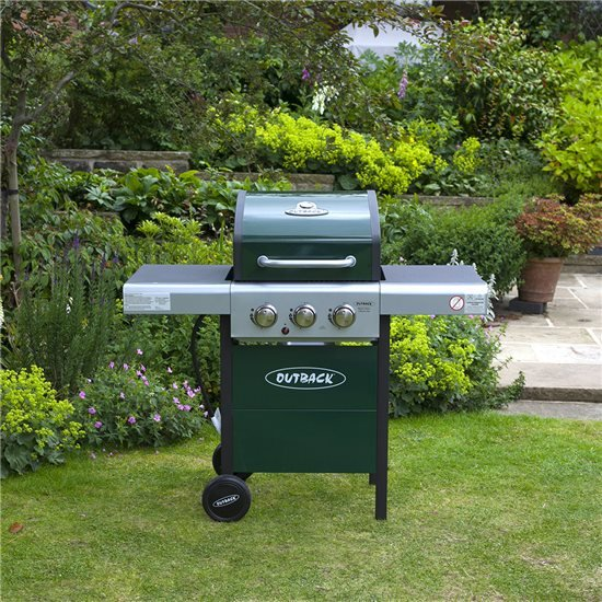 Outback Meteor Hooded 3 Burner Gas BBQ Green