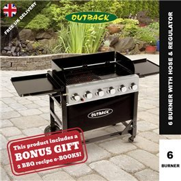 Outback Party Portable 6 Burner Barbecue - With Hose & Regulator