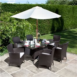 BillyOh Rosario Brown 6 Seat Rectangular Rattan Dining Set