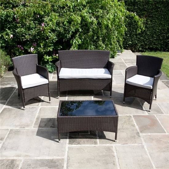 BillyOh Rosario Flat Weave Bistro Rattan Classic Lounge Set with Optional Parasol