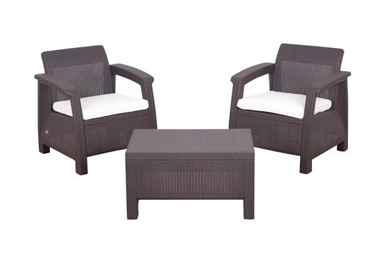 Keter Corfu Balcony Rattan Garden Furniture Set Brown
