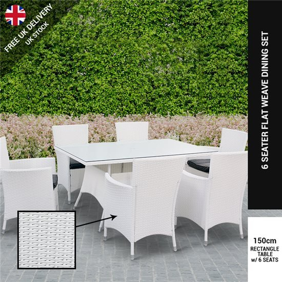 White Rattan Garden Furniture Billyoh rosario white 6 seat rectangular rattan dining set workwithnaturefo