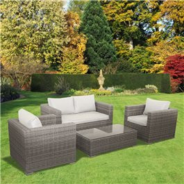 BillyOh Sala Lounge Set  4 Seater Rattan Sofa Set in Natural with Seat & Back Cushions