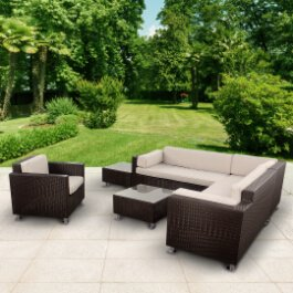 BillyOh Rosario Patio Sectional Sofa Set - 6-Seat Rattan Set in Dark Brown
