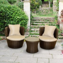BillyOh Rosario Circular Balcony Set - 2 Seat Rattan Set in Dark Brown with Cushions