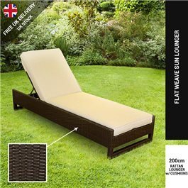 BillyOh Sala Sun Lounger - Rattan Set in Dark Brown, Natural, & White with Cushions
