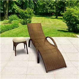 BillyOh Rosario Single Sun Lounger - Rattan Lounger Chair in Brown with Side Table