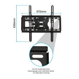 "BillyOh Vantage 4 TV Bracket Wall Mount Tilt & Swivel with 45kg Max Weight for 32 37 40 42 44 47 55 60"" LCD LED Plasma Televisions 4K UHD"