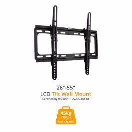 "BillyOh Vantage 2 Strong Slim TV Bracket Wall Mount Tilt & Swivel with 45kg Max Weight for 26 30 32 37 40 42 44 47 55"" LCD LED Plasma Televisions 4K"