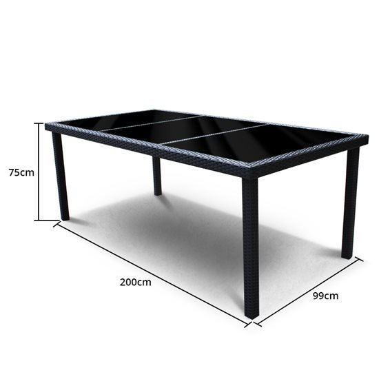 8 Seater Rectangular Dining - Black