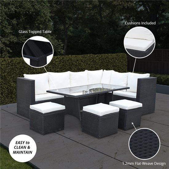 Billyoh Siena 9 Seater Outdoor Rattan Corner Sofa Set
