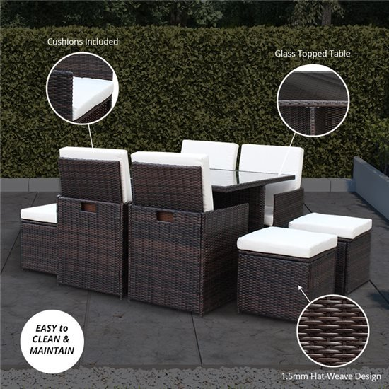 8 Seater Cube - Brown