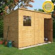 Pent Shiplap Offset Double Door Wooden Shed