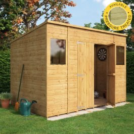 Pent Shiplap Central Double Door Wooden Shed