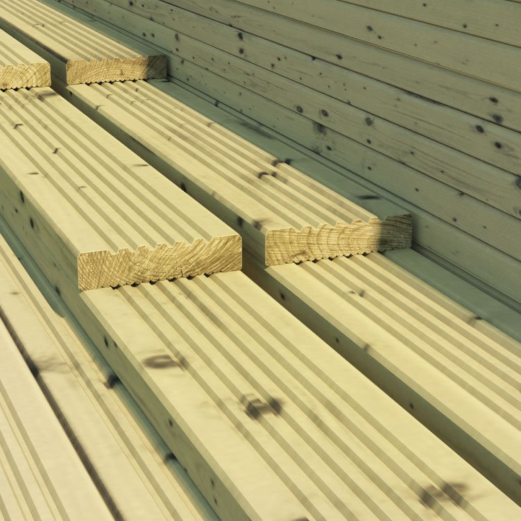 BillyOh 4.2 metre Pressure Treated Wooden Decking (120mm x 28mm)