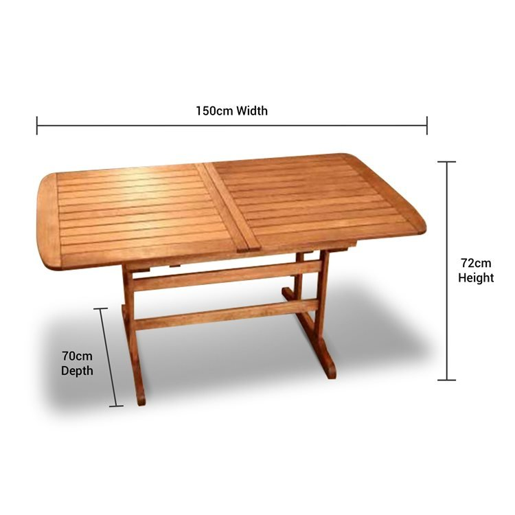 Before Extending this Table has 150cm Width, 70cm Depth and 72cm Height