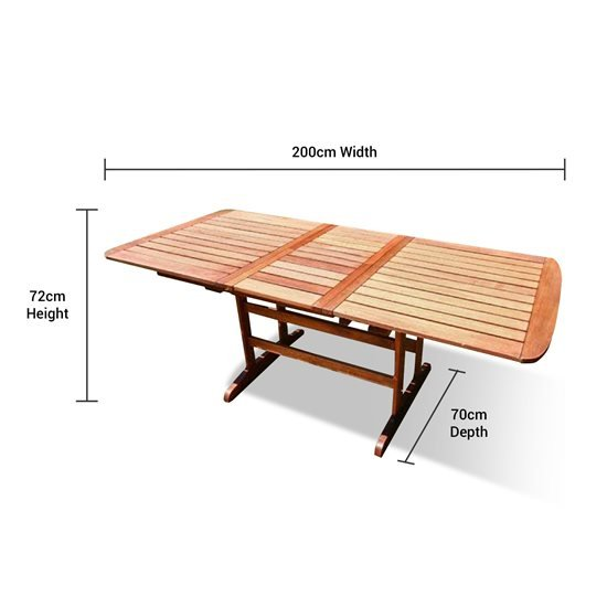 After Extending this Table is 2m Long, 72cm High and has a Depth of 72cm