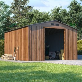 BillyOh Partner Woodgrain Apex Roof Metal Shed