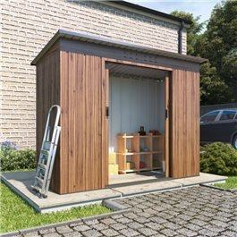 BillyOh Partner Woodgrain Pent Roof Metal Shed