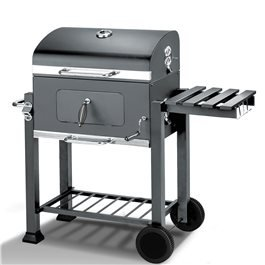 A Portable Grey Charcoal Barbeque, Perfect For Summer Evening Entertaining