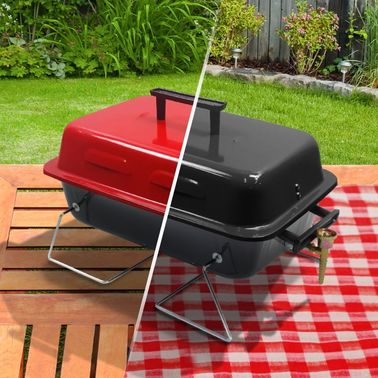 BillyOh Table Top Gas BBQ Grill Portable Lightweight Barbecue - Black or Red 48x27.5x29cm
