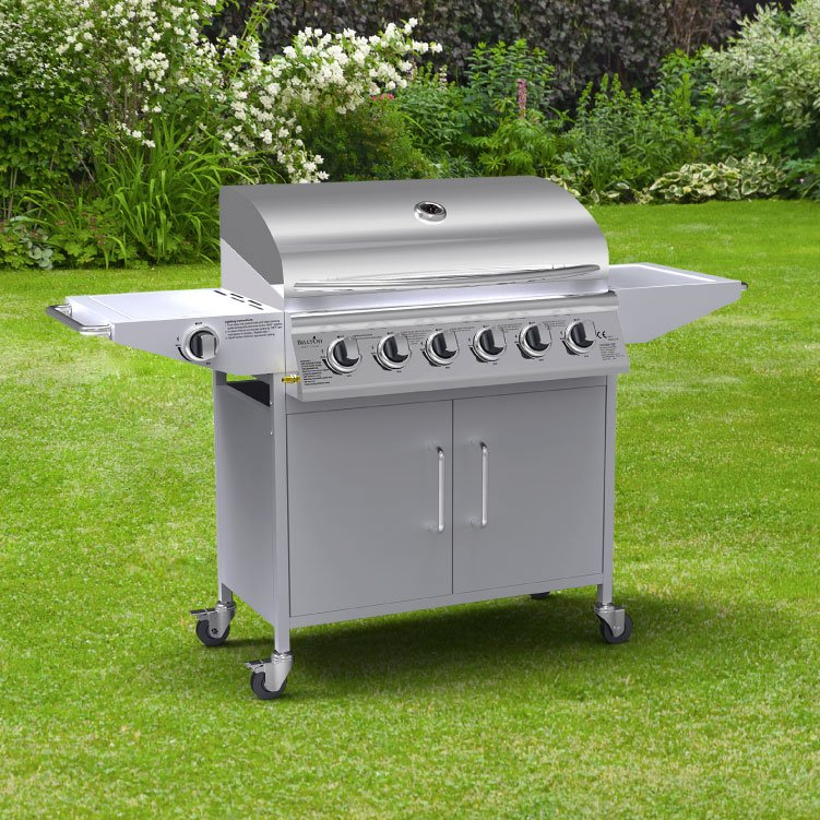 Billyoh origin 6 1 burner hooded gas bbq with side burner for Giordano shop barbecue a gas