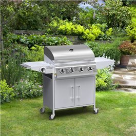 BillyOh Origin 4+1 Burner Hooded Gas BBQ with Side Burner - Silver