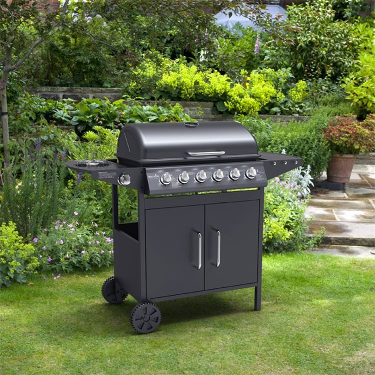 BillyOh Matrix Gas BBQ 6 Burner Grill + Side Burner Hooded Barbecue Black