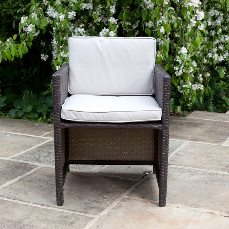 BillyOh Rosario Cube Dining Chairs - 2/4/6/8 Seat Rattan Dining Chairs in Brown with Cushions