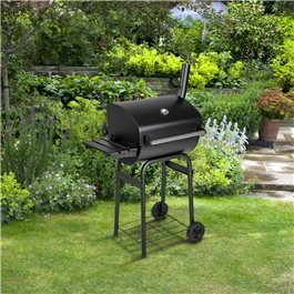 BillyOh Charcoal BBQ Grill Barrel Barbecue with Side Shelf Black 79x124x48cm