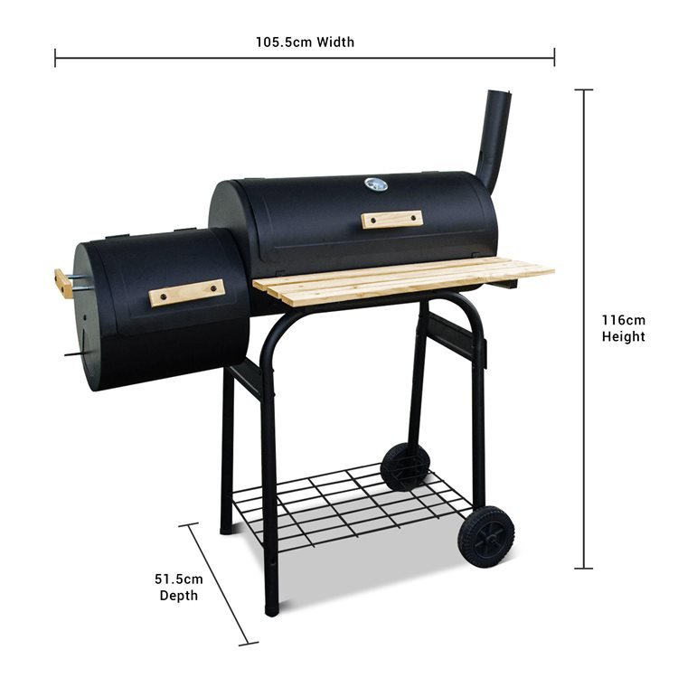 Dimensions of Barrel BBQ with Smoker