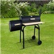 BillyOh Smoker BBQ Charcoal Grill Full Drum + Offset Smoker Barbecue Black 116x105x51cm